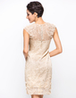 Sheath/Column Scoop Neck Knee-Length Lace Cocktail Dress With Beading Flower(s) (016055955)