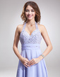 A-Line/Princess Halter Sweep Train Chiffon Evening Dress With Ruffle Beading (017016877)