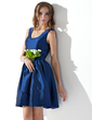 A-Line/Princess Scoop Neck Short/Mini Taffeta Homecoming Dress (022020872)