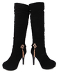 Suede Spool Heel Knee High Boots With Rhinestone Chain Flower shoes (088039495)