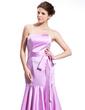 Trumpet/Mermaid Sweetheart Tea-Length Satin Bridesmaid Dress With Bow(s) (007026265)