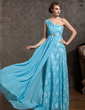 A-Line/Princess One-Shoulder Watteau Train Chiffon Lace Prom Dress With Ruffle Beading (018014905)