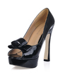 Patent Leather Chunky Heel Peep Toe Platform Sandals With Bowknot (085017478)