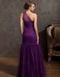 Trumpet/Mermaid One-Shoulder Floor-Length Tulle Prom Dress With Ruffle (018014873)