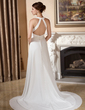 A-Line/Princess V-neck Court Train Chiffon Wedding Dress With Ruffle Beading Sequins (002001679)