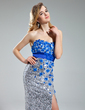 Sheath/Column Sweetheart Floor-Length Sequined Prom Dress With Beading Flower(s) Split Front (018019688)