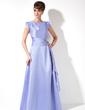 A-Line/Princess Scoop Neck Sweep Train Satin Mother of the Bride Dress With Cascading Ruffles (008006043)
