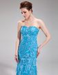 Trumpet/Mermaid Sweetheart Sweep Train Lace Evening Dress With Beading Feather Sequins (017019440)