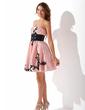 Yüksek Bel Kalp Kesimli Kısa/Mini Taffeta Mezunlar Gecesi Elbisesi Ile Kuşaklar Boncuklama Aplike (022010300)