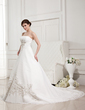 A-Line/Princess Strapless Cathedral Train Chiffon Wedding Dress With Embroidered Ruffle (002011763)