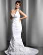 Trumpet/Mermaid Halter Court Train Taffeta Wedding Dress With Ruffle Crystal Brooch (002013769)