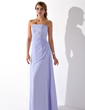 A-Line/Princess Strapless Floor-Length Chiffon Bridesmaid Dress With Ruffle Beading (007001838)