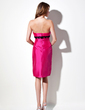 Sheath/Column Strapless Knee-Length Taffeta Bridesmaid Dress With Lace Sash (007001458)