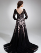 Trumpet/Mermaid V-neck Court Train Charmeuse Tulle Mother of the Bride Dress With Lace Beading (008006548)