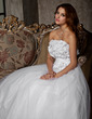 A-Line/Princess Strapless Floor-Length Tulle Wedding Dress With Ruffle Flower(s) (002011448)