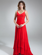 A-Line/Princess V-neck Asymmetrical Chiffon Bridesmaid Dress With Beading (007000912)