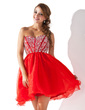 A-Line/Princess Sweetheart Short/Mini Organza Homecoming Dress With Beading Sequins (022008141)