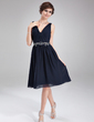 A-Line/Princess V-neck Knee-Length Chiffon Cocktail Dress With Ruffle Beading (016008810)