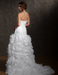 Trumpet/Mermaid Strapless Court Train Satin Organza Wedding Dress With Beading Flower(s) Cascading Ruffles (002011608)