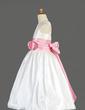 Empire Tea-length Flower Girl Dress - Taffeta/Charmeuse Sleeveless Scoop Neck With Sash/Flower(s)/Bow(s) (010014637)