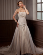 A-Line/Princess Chapel Train Satin Organza Wedding Dress With Ruffle Lace Beading Flower(s) (002000153)