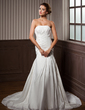 Trumpet/Mermaid Strapless Chapel Train Taffeta Wedding Dress With Ruffle Lace Beading (002001582)