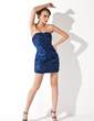 Sheath/Column Sweetheart Short/Mini Taffeta Cocktail Dress With Ruffle Beading (016021275)