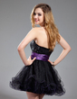 A-Line/Princess Sweetheart Short/Mini Tulle Sequined Homecoming Dress With Ruffle Sash (022019585)