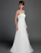 A-Line/Princess Strapless Sweep Train Satin Organza Wedding Dress With Ruffle (002015714)