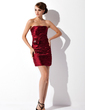 Sheath/Column Strapless Short/Mini Charmeuse Cocktail Dress With Ruffle Beading Flower(s) (016021061)