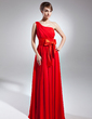 A-Line/Princess One-Shoulder Floor-Length Chiffon Mother of the Bride Dress With Ruffle Bow(s) (008015655)