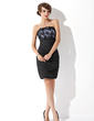 Sheath/Column Strapless Short/Mini Taffeta Cocktail Dress With Lace (016008824)
