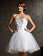 A-Line/Princess Sweetheart Short/Mini Tulle Homecoming Dress With Lace Beading (022020969)