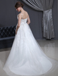 A-Line/Princess V-neck Court Train Tulle Wedding Dress With Ruffle Lace Beading (002001341)