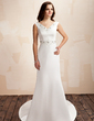Sheath/Column V-neck Court Train Satin Wedding Dress With Beading Bow(s) (002001452)