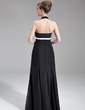 A-Line/Princess Halter Floor-Length Chiffon Bridesmaid Dress With Ruffle Sash Bow(s) (007001009)