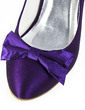 Women's Satin Spool Heel Closed Toe Pumps With Bowknot (047029876)