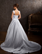 Ball-Gown Sweetheart Chapel Train Satin Wedding Dress With Lace Beading (002011501)