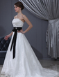 A-Line/Princess Strapless Chapel Train Lace Wedding Dress With Sash Beading Crystal Brooch Bow(s) (002000371)