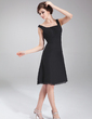 A-Line/Princess Square Neckline Knee-Length Chiffon Cocktail Dress With Ruffle Bow(s) (016021271)