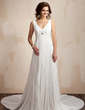 A-Line/Princess V-neck Chapel Train Chiffon Wedding Dress With Lace Beading Pleated (002012608)