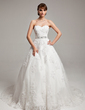Ball-Gown Sweetheart Chapel Train Organza Wedding Dress With Beading Appliques Lace Bow(s) (002017538)