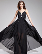 A-Line/Princess V-neck Floor-Length Chiffon Prom Dress With Beading Sequins (018019078)