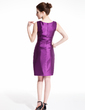 Sheath/Column Scoop Neck Knee-Length Charmeuse Cocktail Dress With Ruffle Beading (016021266)