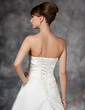 A-Line/Princess Strapless Court Train Satin Wedding Dress With Ruffle Beading (002017113)