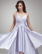 A-Line/Princess V-neck Asymmetrical Charmeuse Prom Dress With Ruffle Beading (018020957)