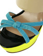 Patent Leather Chunky Heel Sandals Platform Slippers With Split Joint shoes (087026667)