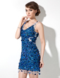 Sheath/Column V-neck Short/Mini Lace Cocktail Dress With Beading Sequins (016008385)