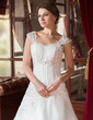 A-Line/Princess Sweetheart Court Train Satin Organza Wedding Dress With Ruffle Beading Appliques Lace (002000152)