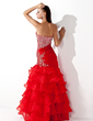 Trumpet/Mermaid Sweetheart Floor-Length Organza Prom Dress With Beading Sequins Cascading Ruffles (018005174)